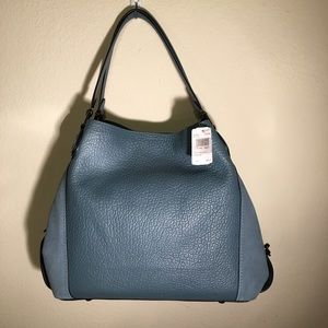 NWT Coach Chambray Mixed Leather XL shoulder Bag